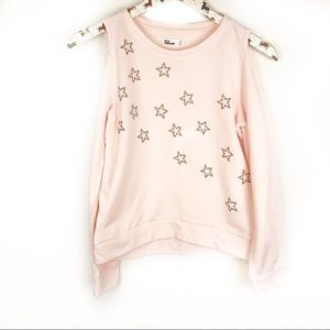 EPIC THREADS | Pink Cold Shoulder Star Sweater M